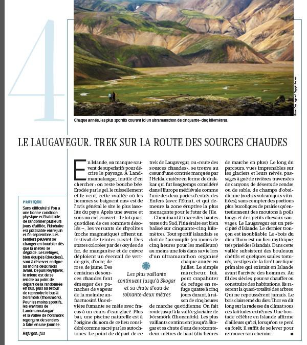 Une  photo d'Islande de Bruno Compagnon publiée sur le dernier magazine GEO du mois de mars 2015